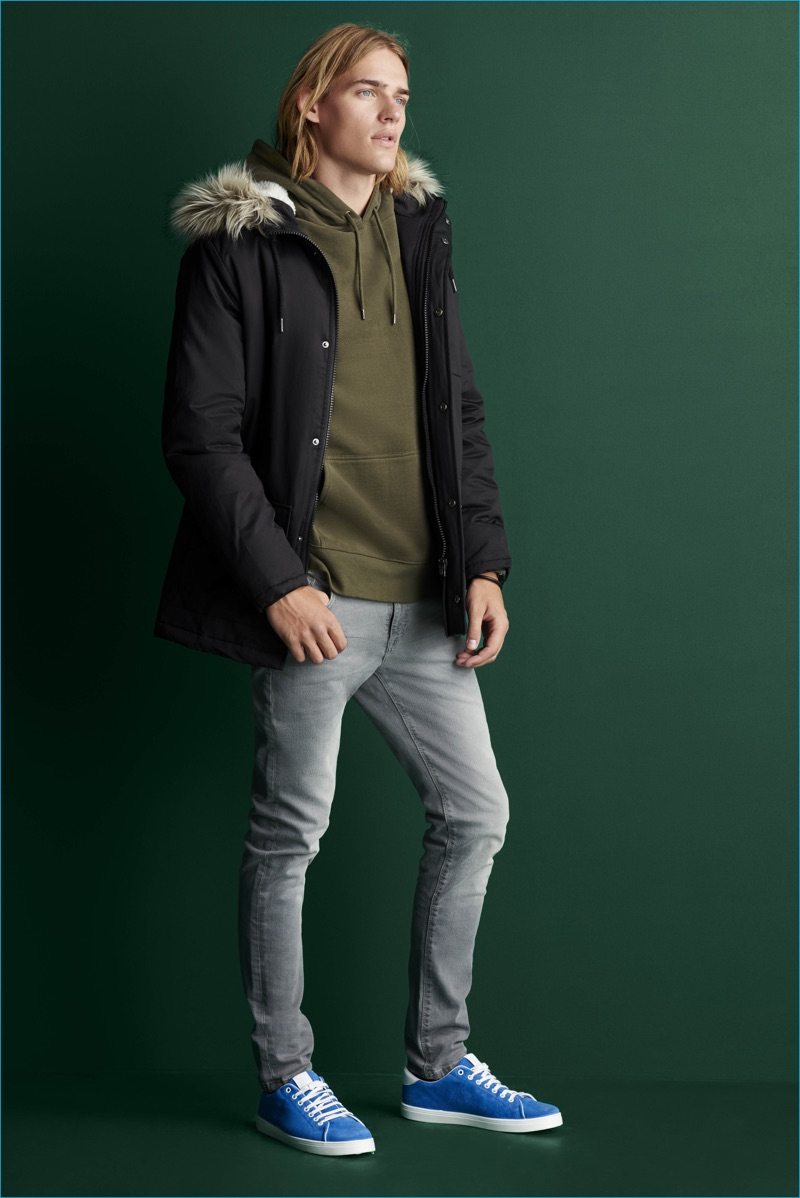 Guerrino Santulliana embraces rugged style in a parka and skinny jeans from River Island.