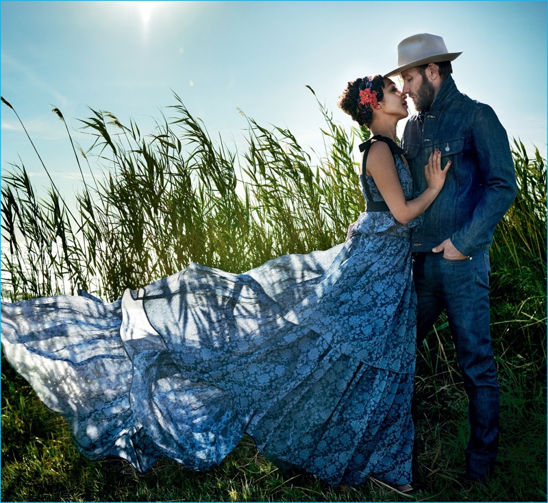 Joel Edgerton sports a double denim ensemble as he embraces Ruth Negga for the pages of Vogue.