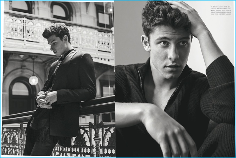 Appearing in a luomo vogue photo shoot shawn mendes wears michael kors and