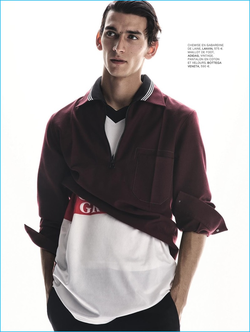 Front and center in a Lanvin pullover, Thibaud Charon stars in an editorial for L'Express Styles.