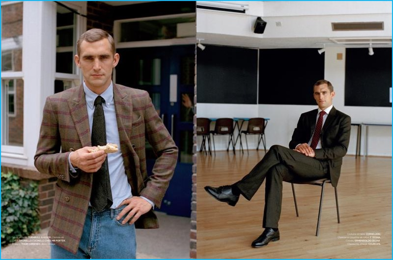English model Will Chalker models fashions from Turnbull, Brunello Cucinelli, and other brands for L'Officiel Hommes.