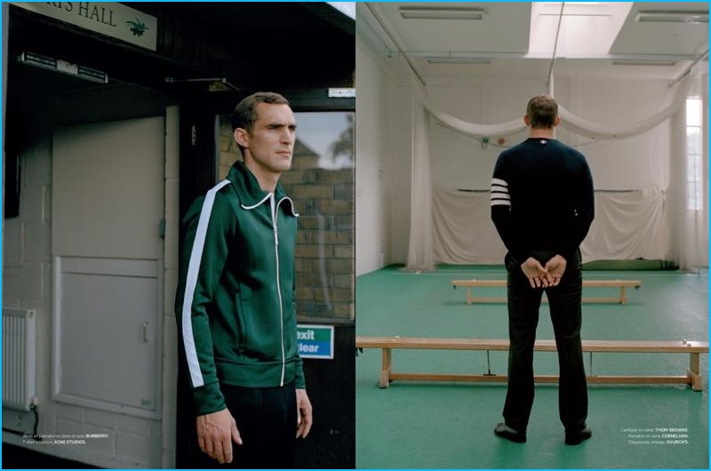 Going casual, Will Chalker models a wardrobe, which includes fall standouts such as Burberry's green track jacket.