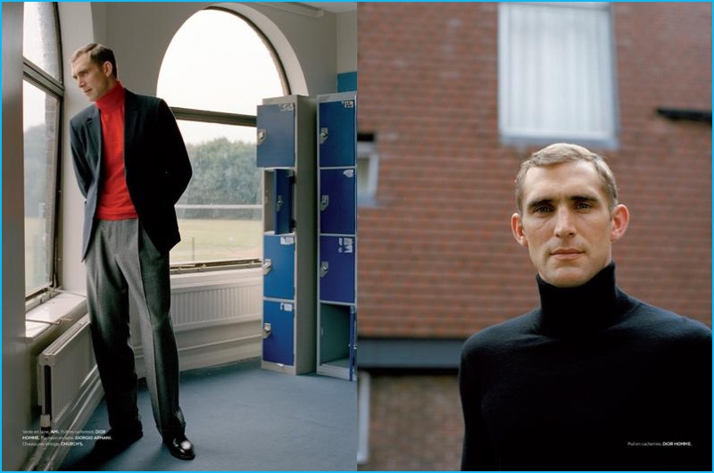 Gracing the pages of L'Officiel Hommes, Will Chalker sports Dior Homme, Giorgio Armani, and other luxury labels.