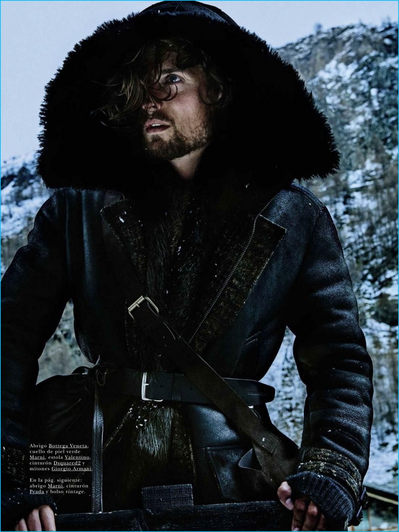 Model Wouter Peelen sports a belted Bottega Veneta coat for the pages of GQ España.
