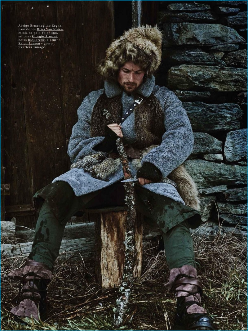 Embracing rugged style, Wouter Peelen wears an Ermenegildo Zegna coat with Dries Van Noten pants, a Valentino fur scarf, Giorgio Armani gloves, and Dsquared2 boots.