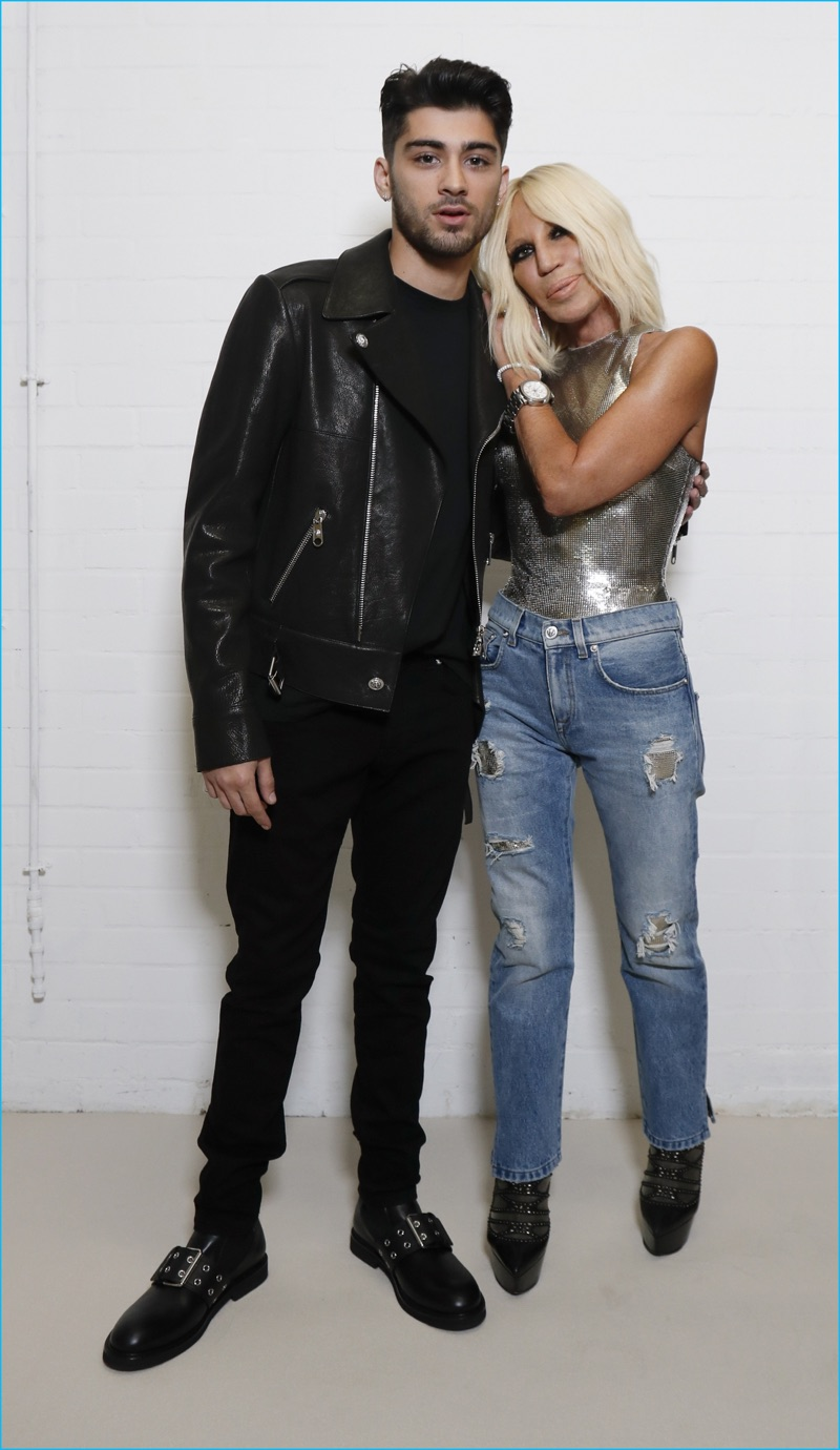 Singer Zayn Malik poses for a picture with designer Donatella Versace.