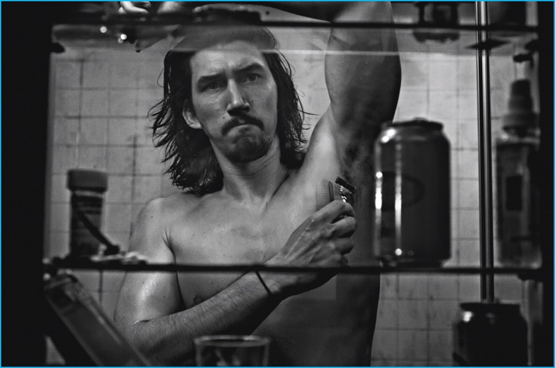 starring in a grungy photo shoot adam driver shaves his arm pits for the pages