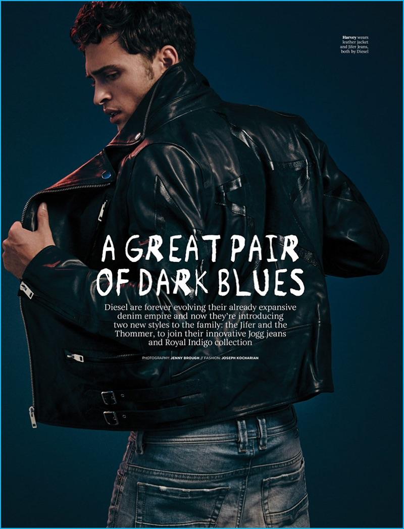 Harvey Haydon wears a leather biker jacket and distressed denim jeans by Diesel.