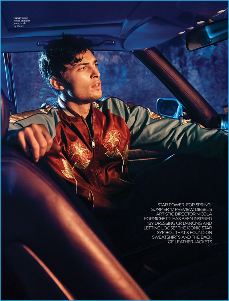 Harvey Haydon sports a bomber jacket from Diesel for the pages of Attitude magazine.