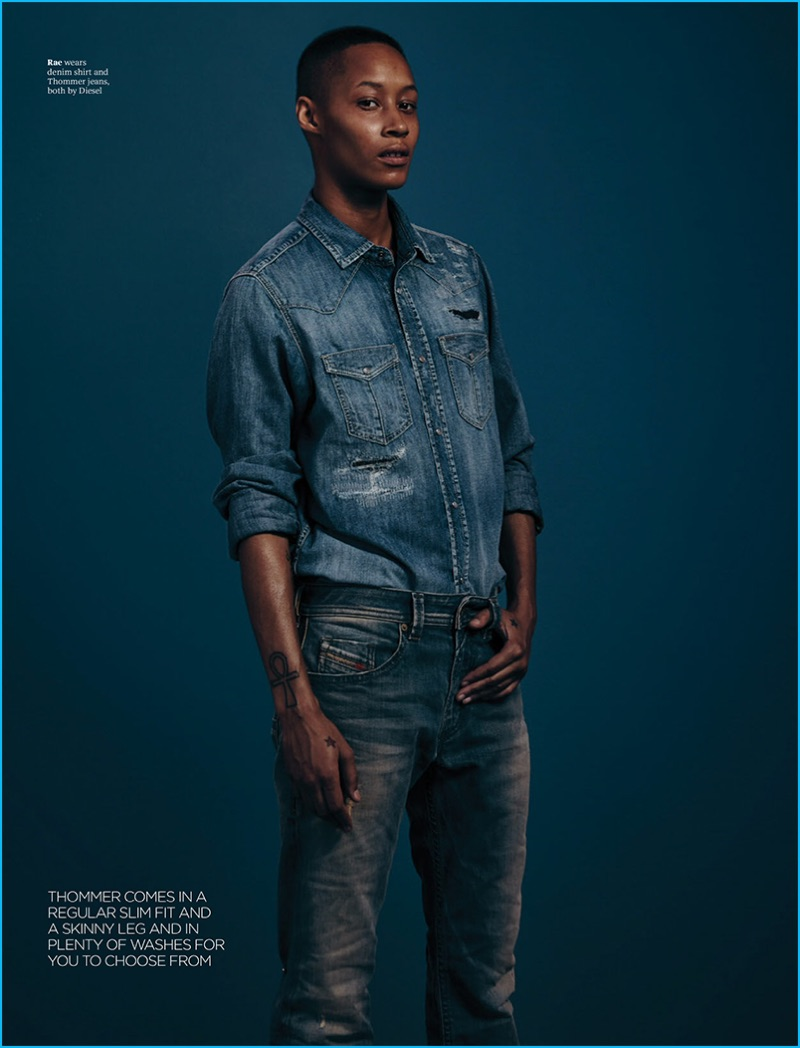 Rae doubles down on denim separates from Diesel for Attitude magazine.