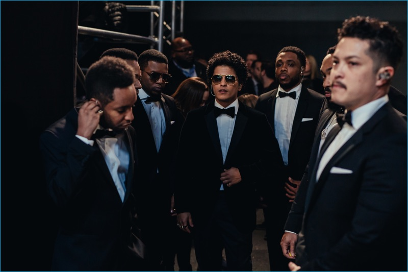 Bruno Mars and The Hooligans wears tuxedos by Tommy Hilfiger for the 2016 Victoria's Secret fashion show.