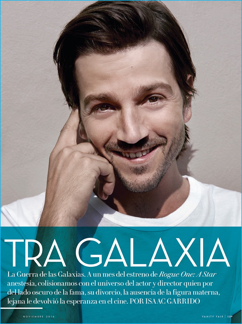 Going casual, Diego Luna sports an Alexander Wang t-shirt for the pages of Vanity Fair México.