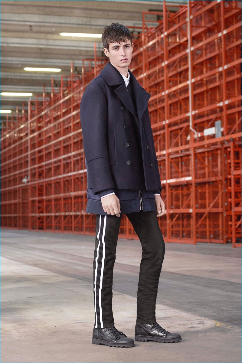 Classics such as the navy peacoat appear alongside a reinterpretation on track pants.