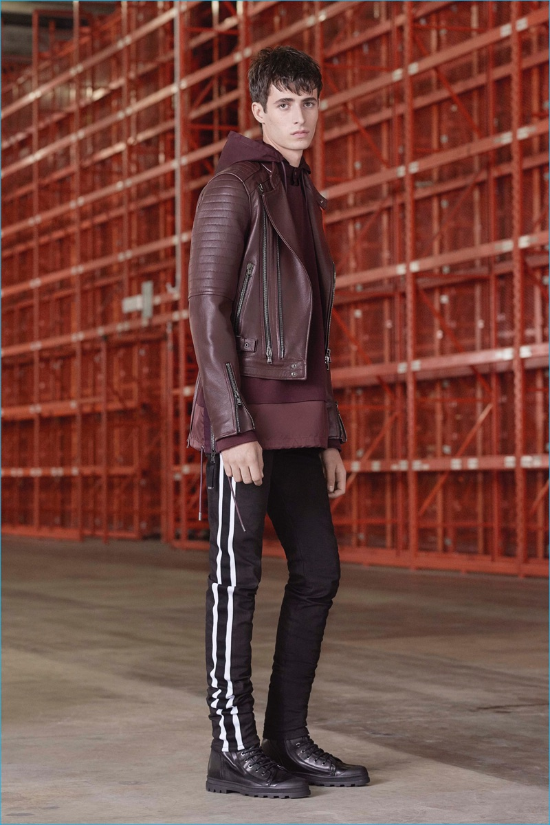 Burgundy is front and center for an inspiring monochromatic moment from Diesel Black Gold.