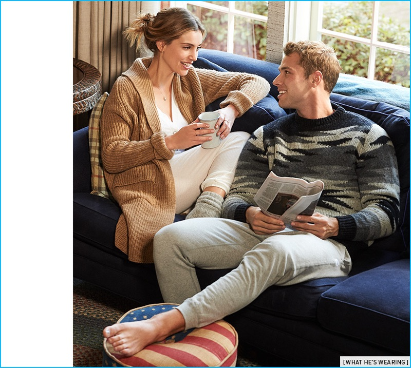Embracing a low-key look, Kacey Carrig sports a Monsieur Lacenaire x White Mountaineering sweater with Reigning Champ sweatpants.