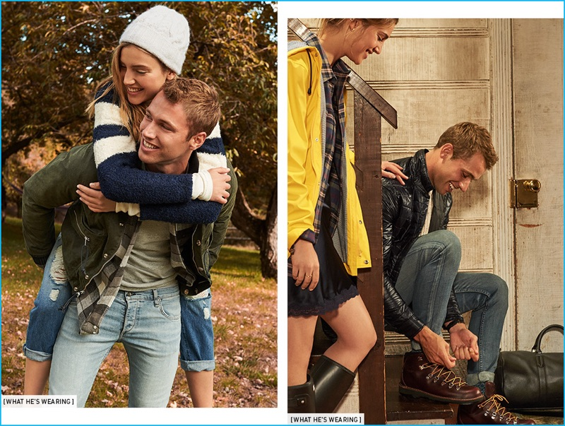 Left: Kacey Carrig is all smiles in an Officine Generale plaid shirt and Velva Sheen pocket tee. The American model also sports a Monitaly waxed cotton jacket and Rag & Bone Standard Issue fit 2 jeans. Right: Tying his Danner boots, Kacey Carrig wears Rag & Bone Standard Issue fit 2 jeans with an Isaora overshirt, Club Monaco cashmere sweater, and Anonymous Ism socks.