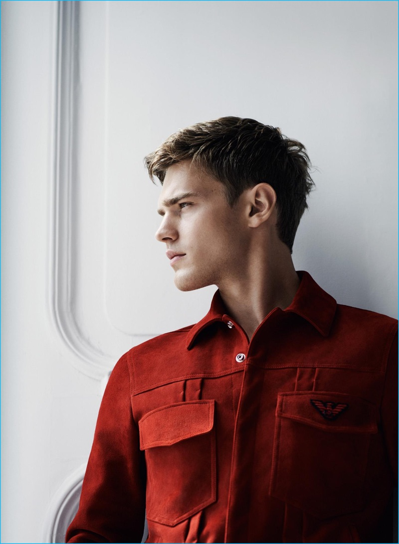 Model Bo Develius sports a suede goatskin jacket for Emporio Armani's cruise 2017 campaign.