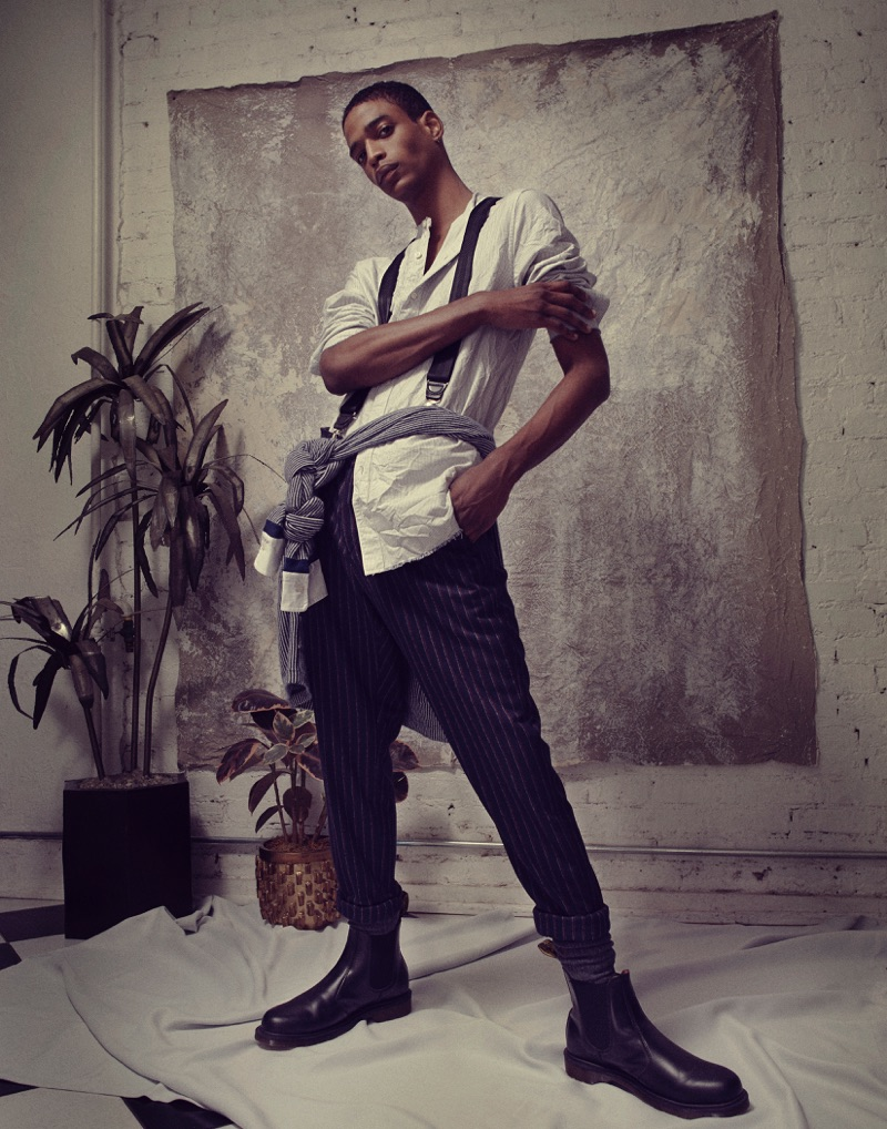 Darron wears shirt Max 'N Chester, suspenders Hugo Boss, boots Dr Martens, wrap shirt and trousers Tommy Hilfiger.