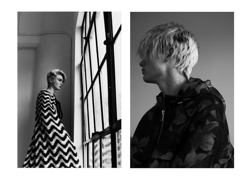 Left: Elijah wears a cape by Maria Dora. Right: Elijah models a Ami windbreaker.