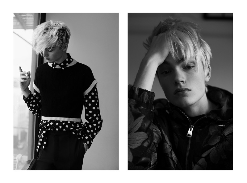 Left: Elijah layers in a polka dot Saint Laurent shirt with a Maria Dora sweater, and Lanvin trousers. Right: Elijah models a patterned windbreaker by Ami.