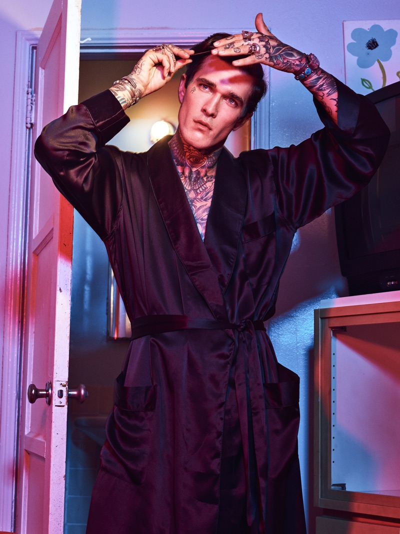 Jimmy Q dons a silk robe by Menagerie.