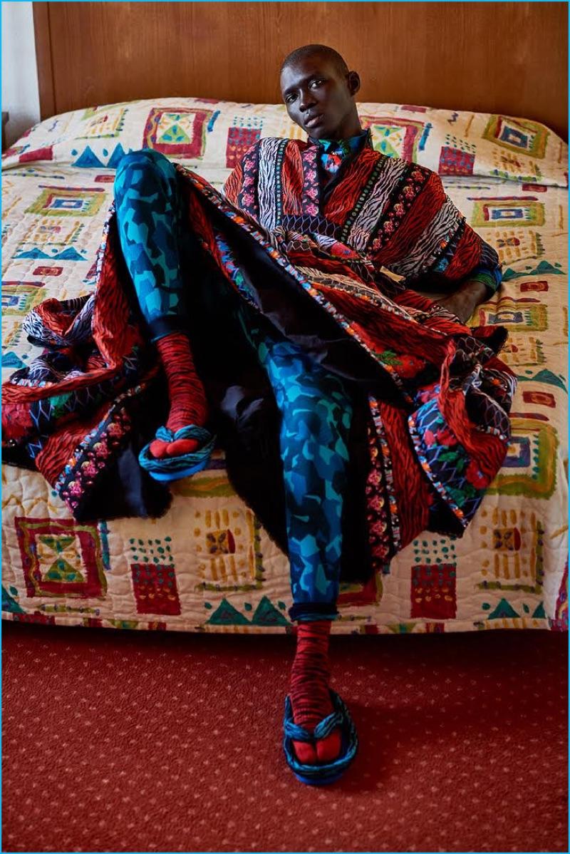 Jan Kralicek styles Fernando Cabral in a wardrobe featuring Kenzo's H&M collaboration.