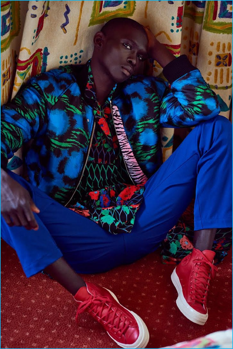Fernando Cabral is front and center in a look from Kenzo's H&M collaboration.