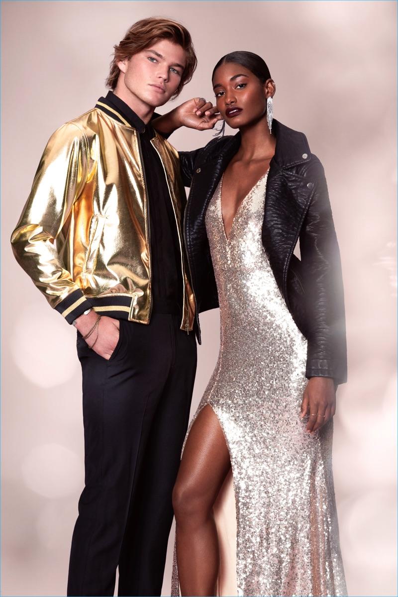 Australian model Jordan Barrett rocks a metallic gold bomber jacket for Forever 21's holiday 2016 campaign.