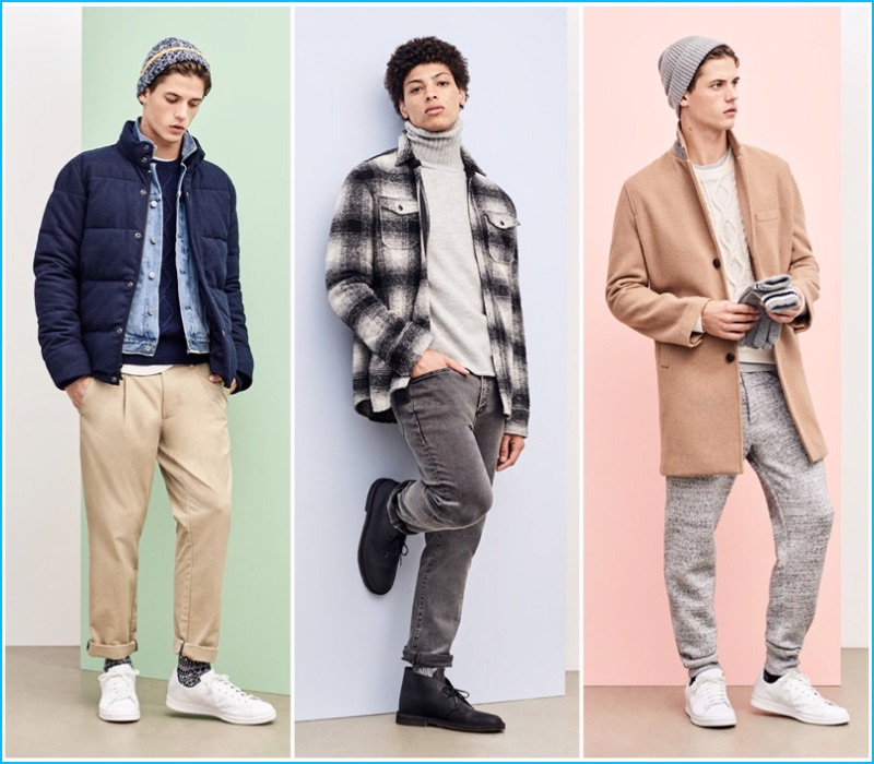 Models Nate Hill and Danny McFadden wear fashions from Gap's holiday 2016 collection.