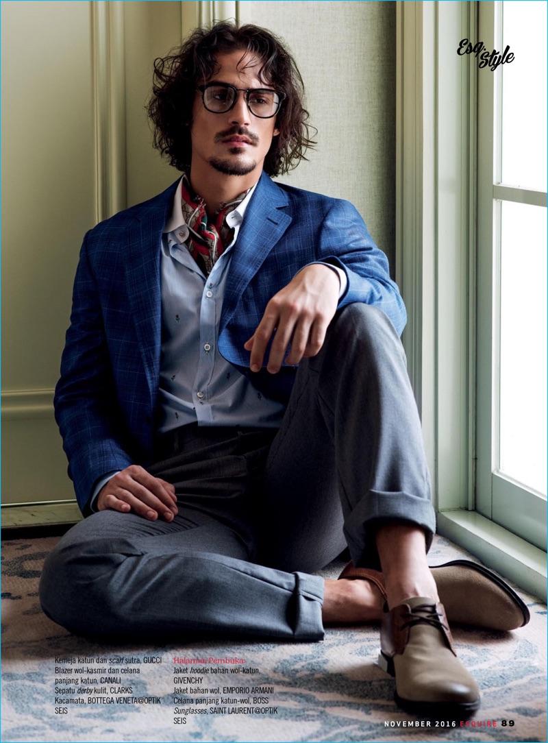 Gustavo Krier Embraces Modern Gentleman Style For Esquire Indonesia Stelan Jeans Pretty Sepatu Wearing Glasses Dons A Bottega Veneta Shirt Gucci Scarf Clarks Shoes