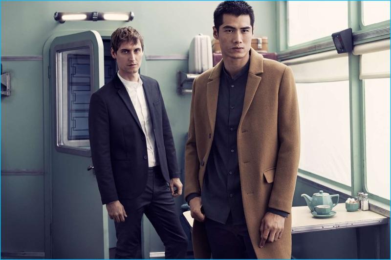 Models Sebastien Andrieu and Hao Yun Xiang don fall-winter 2016 tailoring from H&M.