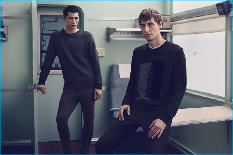 Hao Yun Xiang and Sebastien Andrieu embrace dark hues, showcasing a sweater and sweatshirt from H&M's latest lineup.
