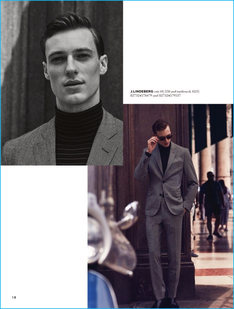 Model Tommaso de Benedictis steps out in suiting from J.Lindeberg.