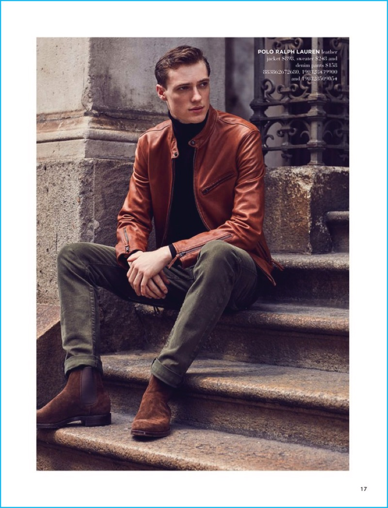 Embracing a refined cool, Tommaso de Benedictis wears a brown leather racer jacket by Polo Ralph Lauren.