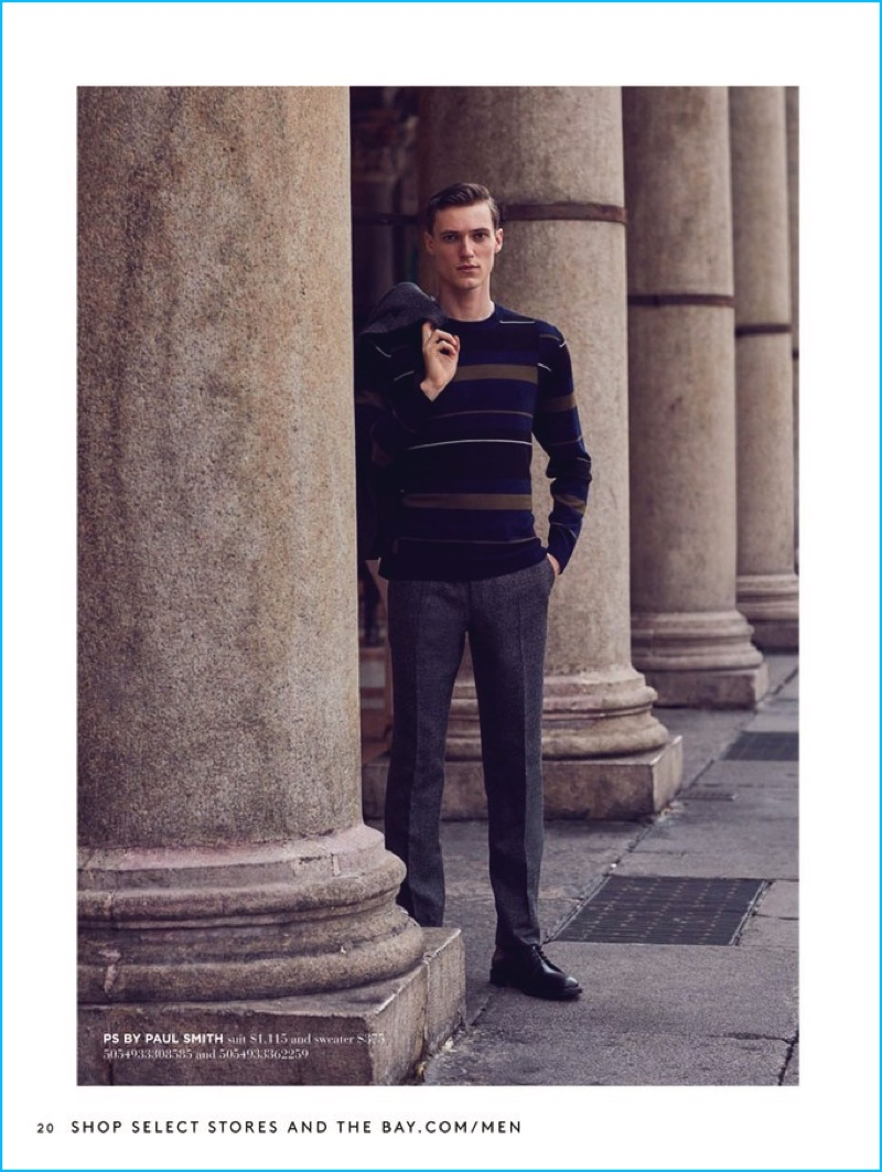 Italian-American model Tommaso de Benedictis sports a fall ensemble from PS by Paul Smith.