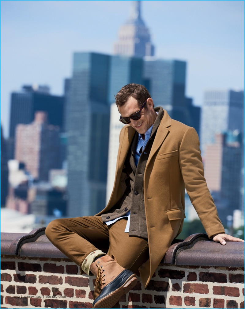 Making a sharp style statement, J.Crew spotlights its classic Ludlow topcoat in camel.
