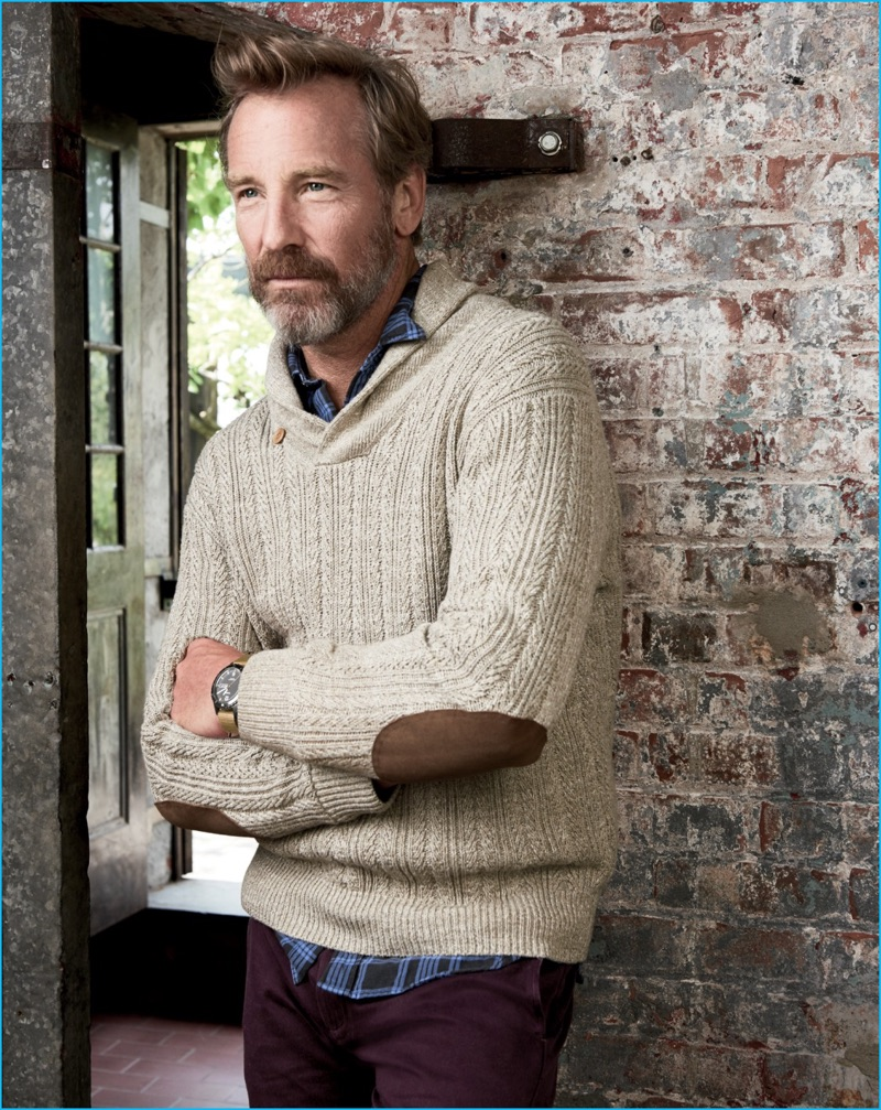 Rainer Andreesen steps out in a J.Crew shawl collar sweater with elbow patches.