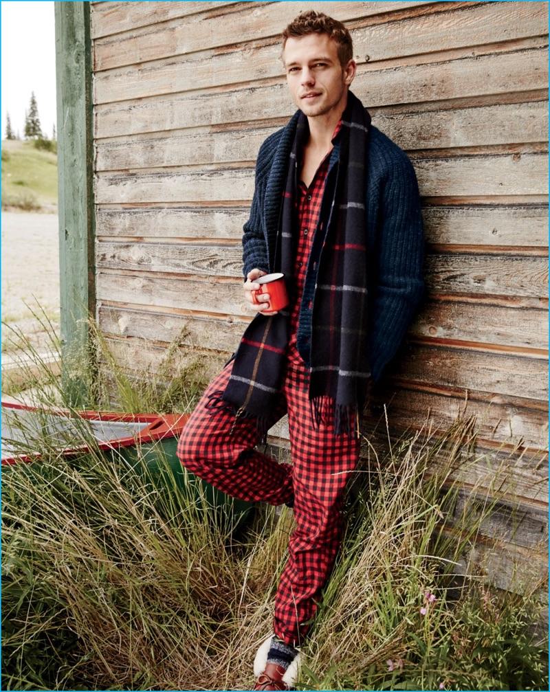 Swedish model Benjamin Eidem goes casual in fleece pajamas from J.Crew.