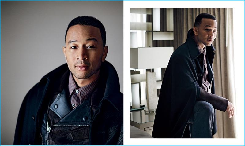 Singer John Legend wears an Alexander McQueen cape with a Canali biker jacket, Prada shirt, and Gucci trousers.