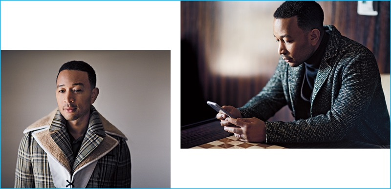 Left, John Legend wears a plaid Prada coat with a Lanvin shirt. Right, John Legend sports an Etro overcoat and turtleneck with with a Giorgio Armani waistcoat.