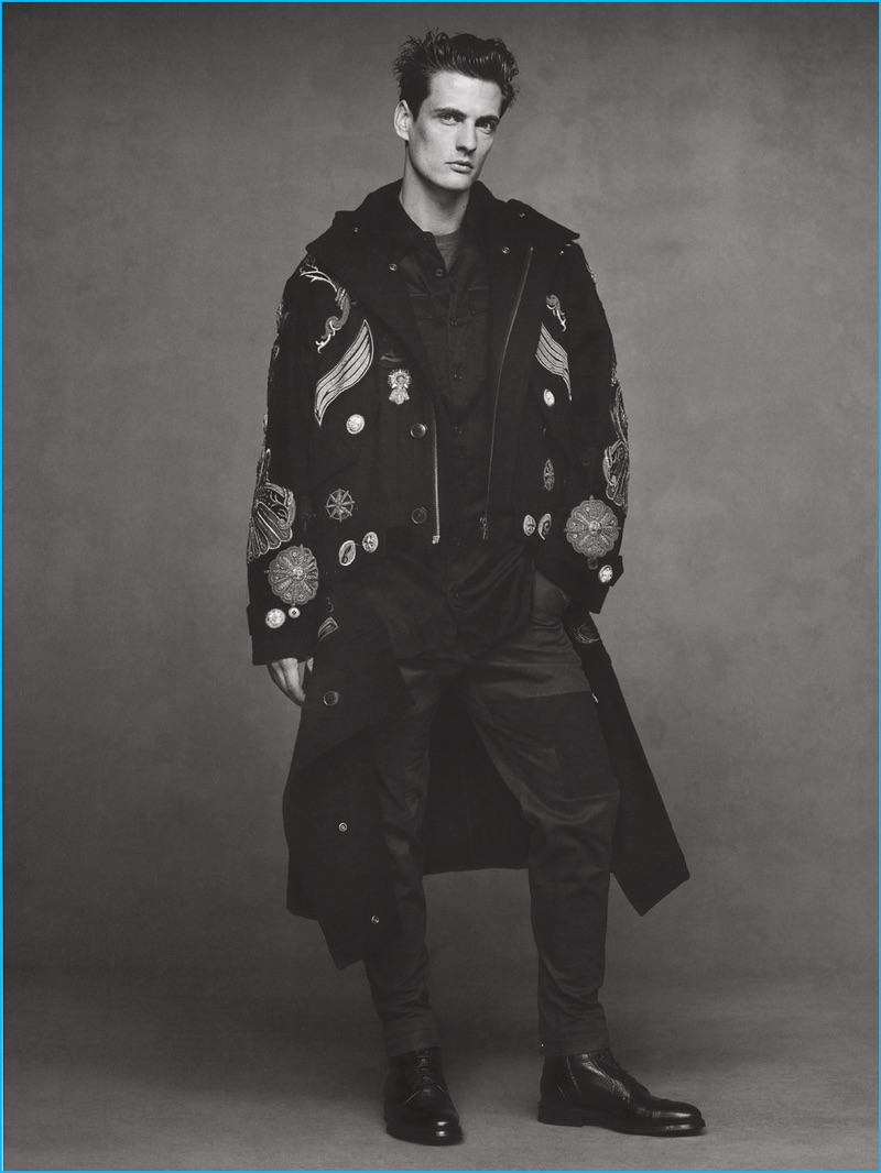 Leo Eller appears in an editorial for SKP magazine, wearing a Dries Van Noten coat. The German model also sports a shirt, pants, and leather boots from BOSS by Hugo Boss.