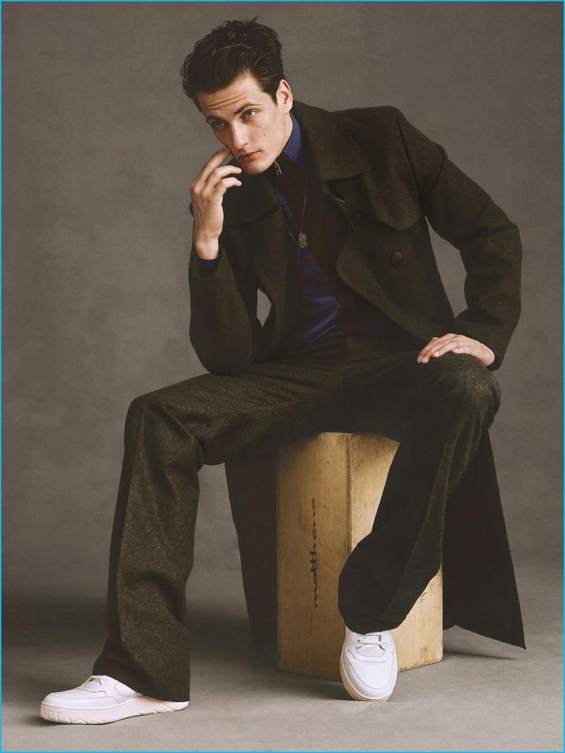 Model Leo Eller sports all clothes Bottega Veneta and Moncler leather sneakers for SKP magazine.