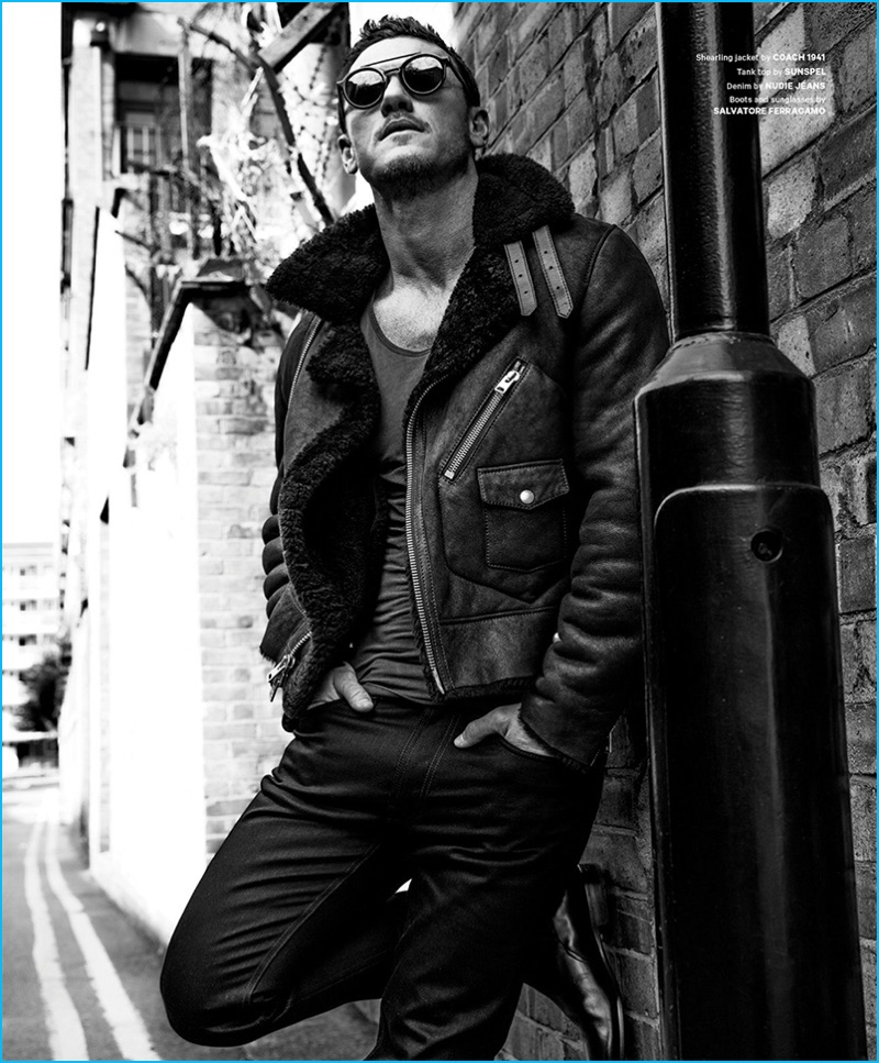 Zeb Daemen photographs Luke Evans in a shearling jacket from Coach 1941. Evans also sports a Sunspel tank, Nudie Jeans denim, as well as sunglasses and boots from Salvatore Ferragamo.