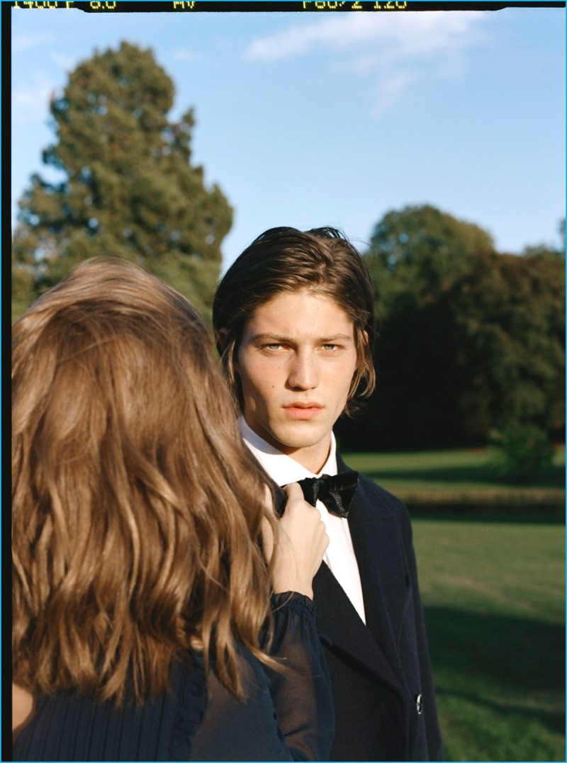 Boyd Gates dons a tuxedo for Mango Man's most recent campaign.