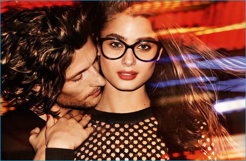 Dutch model Wouter Peelen cozies up to Taylor Hill for MICHAEL Michael Kors' holiday 2016 campaign.