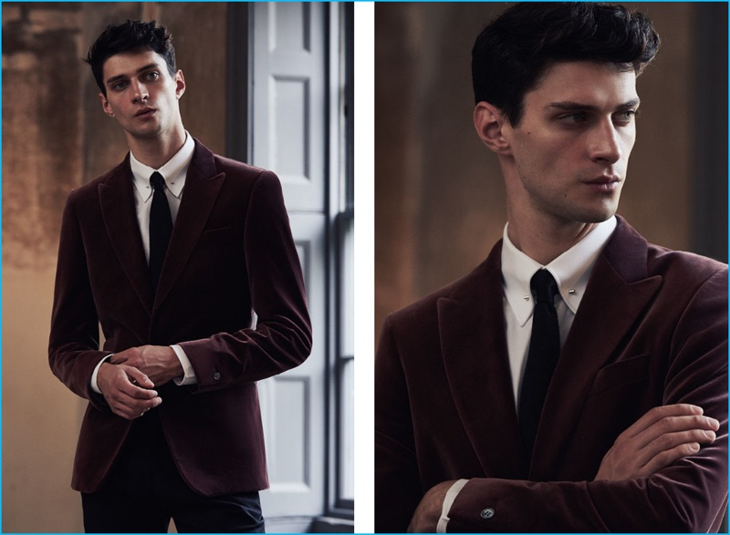 Inspiring, to say the least, Matthew Bell models Reiss' dusky rose velvet blazer with a Noble textured collar shirt, Shaun slim silk tie, and Murphy tonal check trousers in bordeaux.