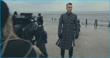 Robbie Williams Rocks Thom Browne Plaid Coat for 'Love My Life' Music Video