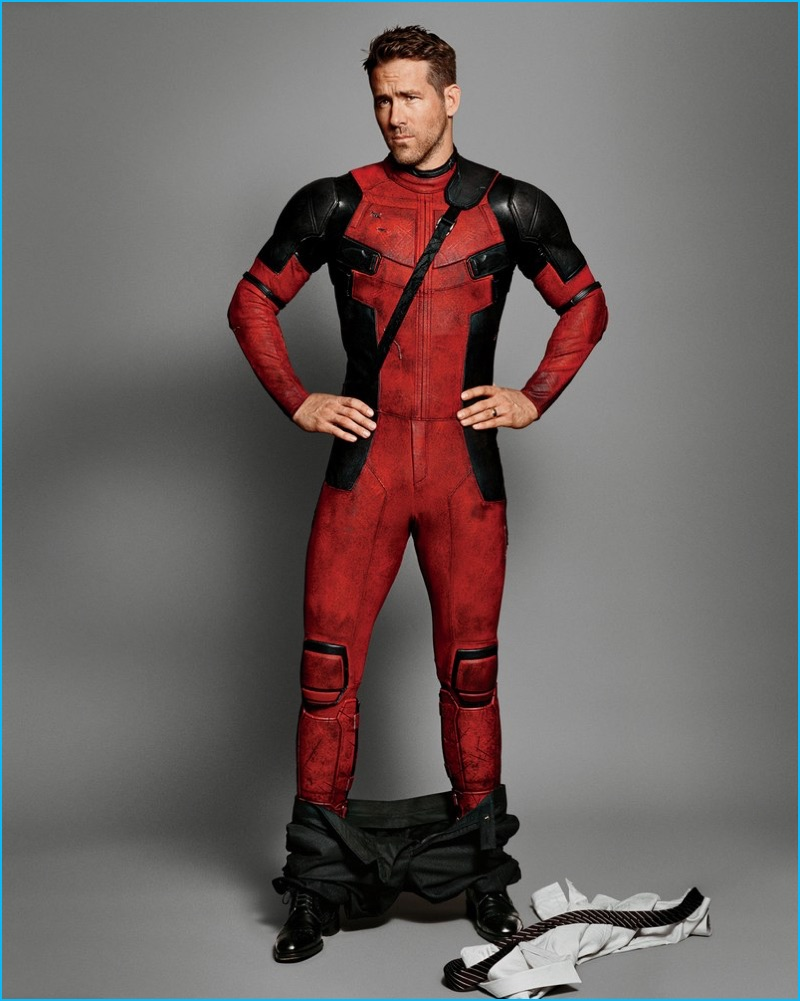 Canadian actor Ryan Reynolds rocks his Deadpool costume for GQ.