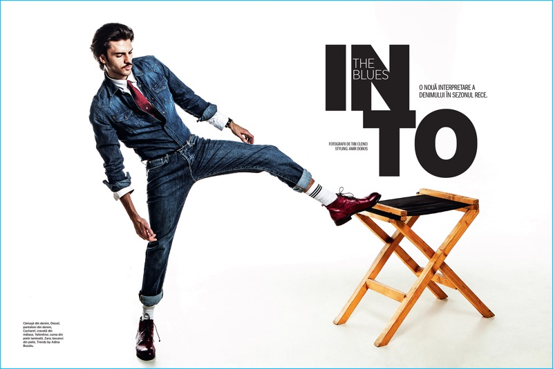 Model Silviu Tolu warms up to timeless indigo denim for the pages of Cosmopolitan Man Romania.