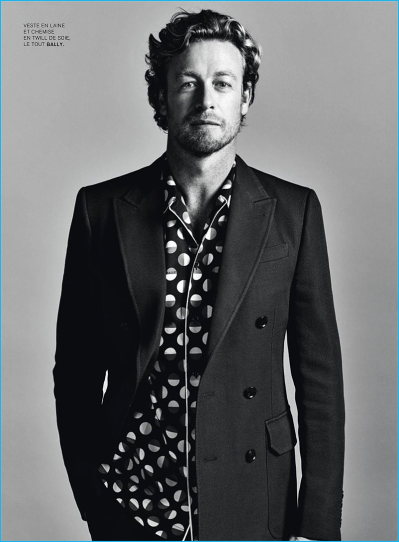 Christopher Meimoon photographs Simon Baker in a printed shirt and double-breasted jacket from Bally.